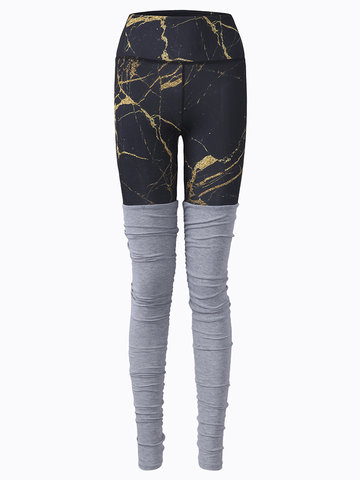Women Patchwork Printed Stretched Workout Pants