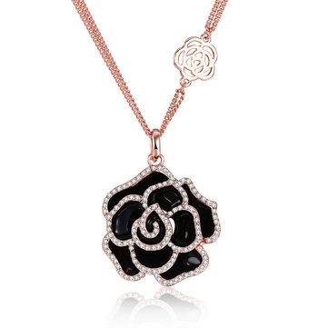ИНАЛИС Роза позолоченные цветы подвеска чешский алмаз длинное ожерелье
