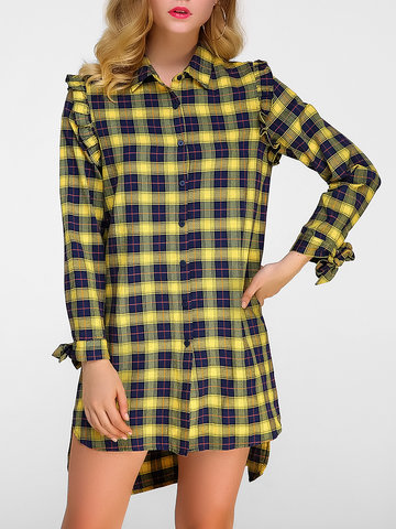 Casual Plaid Irregular Pleated Lapel Long Sleeve Women Mini Dresses