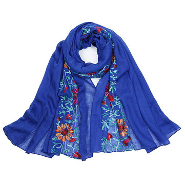 Women Ethnic Embroidery Printing Scarf Cotton Shawls