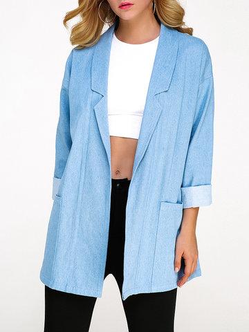 Gracila Denim Pure Color Women Coats