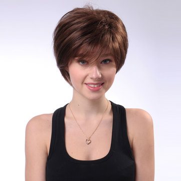 Brown Short Straight Human Hair Wig