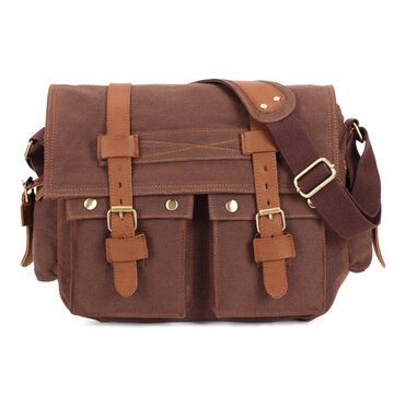Men Canvas Microfibric Leather Casual Outdoor Messenger Shoulder Bag Crossbody Bag