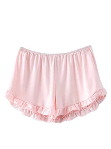 Pure Color Cute Elastic Ruffles Loose Women  Sport Shorts