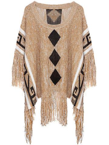 Vintage Loose Tassel Print Knit Batwing Sleeve Round Neck Sweater