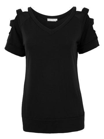 Женщины с коротким рукавом V шеи с плеча Чистая футболка цвета