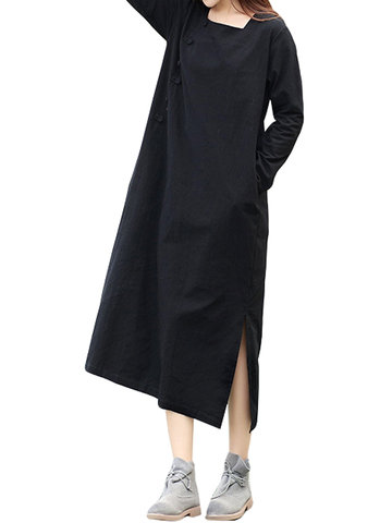 Vintage Women Side Split Buttons Long Sleeve Long Maxi Dresses