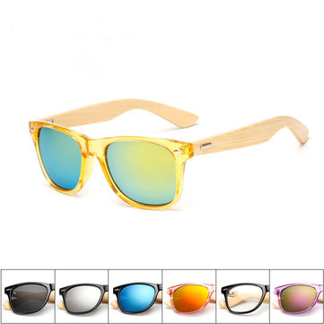Men Women Retro Classic Radiation Protection Eyewear Bamboo Wood Legs Colorful Sunglasses