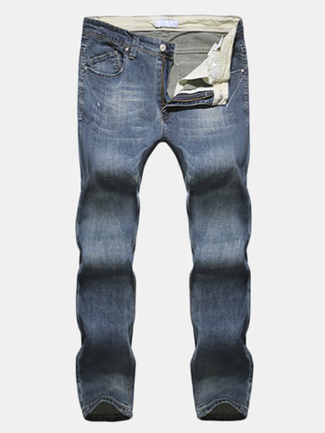 Vintage Style Men's Casual Slim Fit Straight Skinny Distressed Jeans Cotton Denim Pants