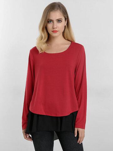 Цветная контрастная поддельная двухкомпонентная блузка