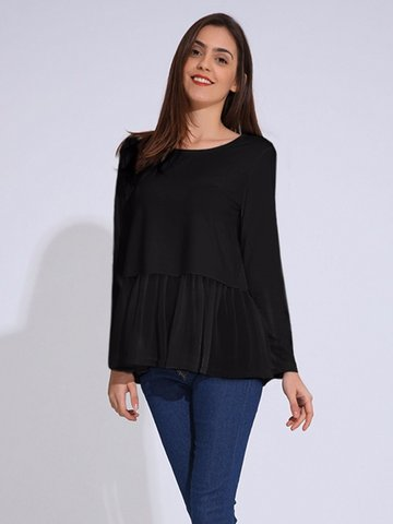 Women Casual Patchwork Long Sleeve O-neck T-shirt