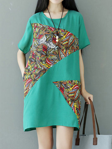 Vintage Women Patchwork Pocket Short Sleeve Dresses