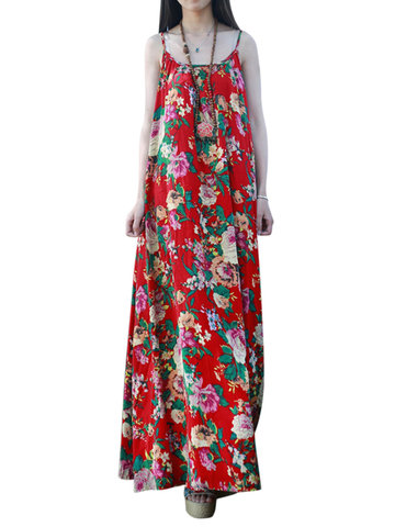 Gracila Vintage Floral Print Cami Loose O-neck Maxi Dress For Women
