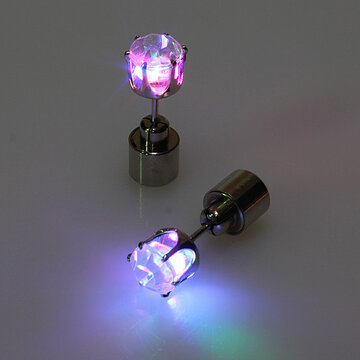1 Pair LED Christmas Ear Studs Stainless Steel Zircon Unisex Earrings