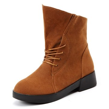 Big Size Knight Lace Up Pure Color Ankle Boots
