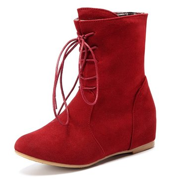 Heel Increasing Lace Up Pure Color Mid Calf Flat Boots