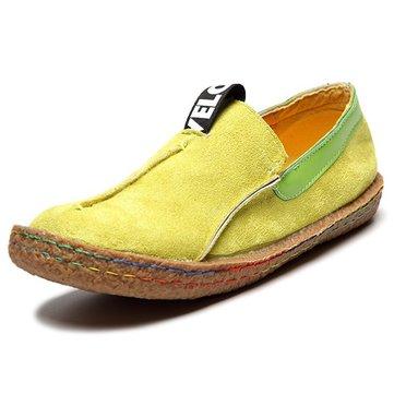 Chaussures Plates Souples En Suède Avec Couleur Pure Mocassins De Couture Pour Femmes