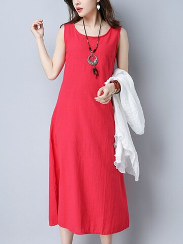 Casual Cross Strap Backless Loose Sleeveless O-neck Dress For Women