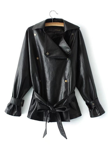 Pure Color PU Leather Women Jackets