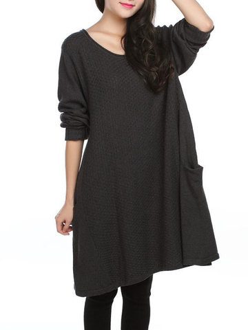 Casual Pure Color Long Sleeve Pullover Sweater Dress For Women