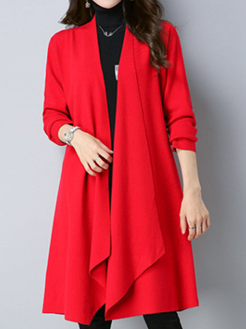 Elegant Women Knitted Long Sleeve Asymmetrical Hem Coats
