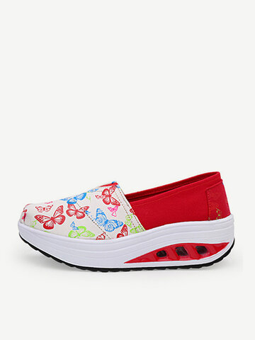 Soft Mixed Colors Comfortable Canvas Casual Platform Shake Shoes