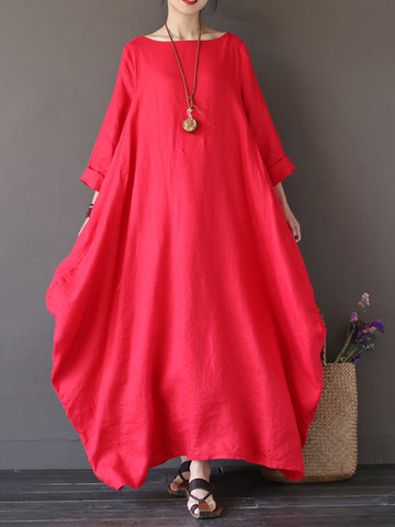 Vintage Women Solid 3/4 Sleeve Loose Robe Dress For Women
