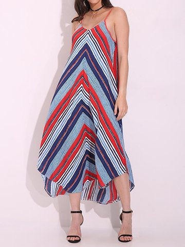 Stripe Irregular Loose Spaghetti Strap V-neck Maxi Dress For Women