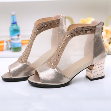 Big Size Mesh Beaded Peep Toe Square Heel Zipper Shoes