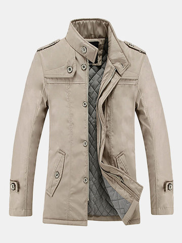 Mens Business Casual Trench Coat Single-breasted Warm Thick Cotton Lining Jacket