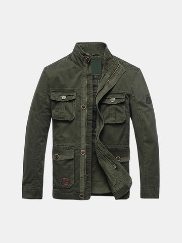 Plus Size Military Style Stand Collar Jacket