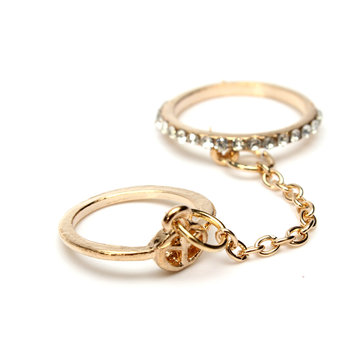 Crystal Alloy Chain Double knuckle Ring