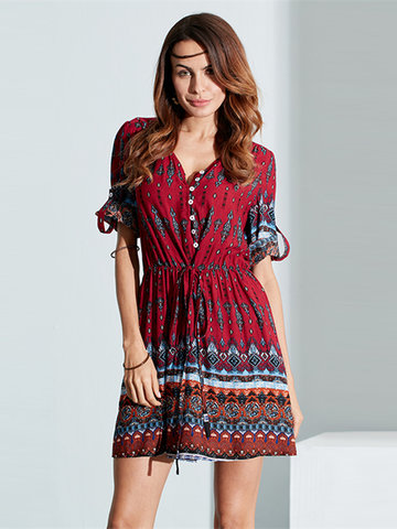Bohemian Women Floral Printed V-Neck Buttons Mini Dresses