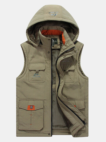Plus Size Casual Outdoor Thicken Multi Functions Loose Hoody Vests for Men