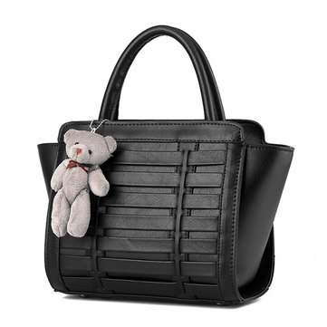 Ladies Cute Bear Weave Casual Large Capacity Handbag Elegant Leisure Shoulder Bag