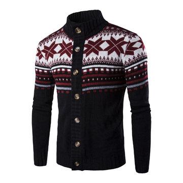 Снежинка печати трикотажные свитер кардигана Одноместный Breasted стенд воротник свитер для мужчин