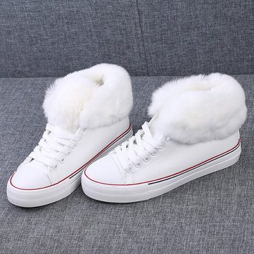 Canvas Furry Fur Lining Lace Up Flat High Top Boots