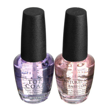 2Pcs 15ml Nail Art Polish Natural Base Coat & Clear Top Coat Lacquer Varnish Set