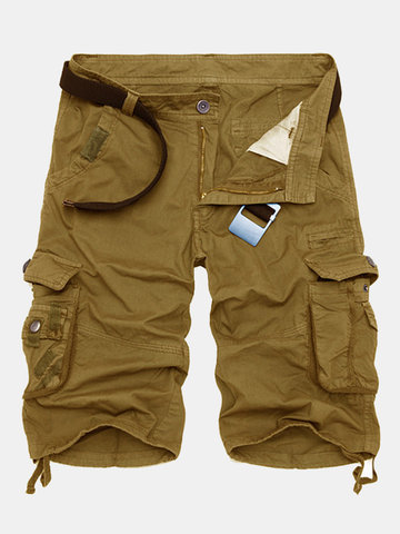 Summer Mens Cotton Cargo Shorts Casual Multi Pocket Shorts Pure Color Cargos Shorts