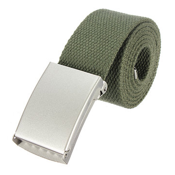 Men Casual Silvery Metal Buckle Military Canvas Waist Belt