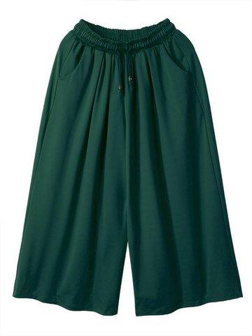 Loose Women Drawstring Baggy Pockets Ruffles Athleisure Wide Leg Pants
