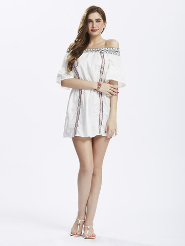 Women Short Sleeve Off Shoulder Embroidery Sexy Mini Dress