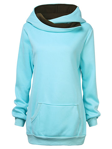 Women Fashion Brief Hooded Lapel Collar Mixed Colors Sweatshirt
