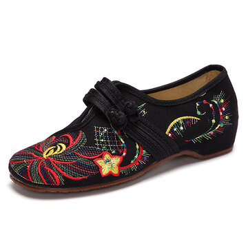 Hot-sale Big Size Flower Embroidered Chinese Knot Vintage Flat Casual ...