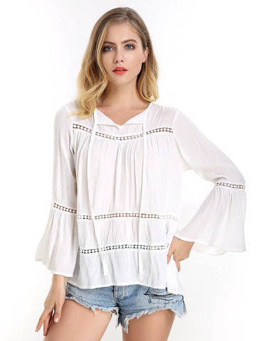 Hollow Out Flouncing Sleeve Lace-up Shirt