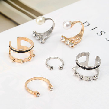 3Pcs Fashion Ring Set Rivet Pearl Rhinestone Knuckle Rings