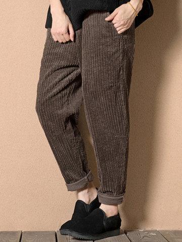 Gracila Casual Women Corduroy Harem Pants