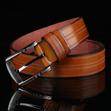 125CM Mens Casual PU Leather Pin Buckle Belt Alloy Buckle Jeans Waistband