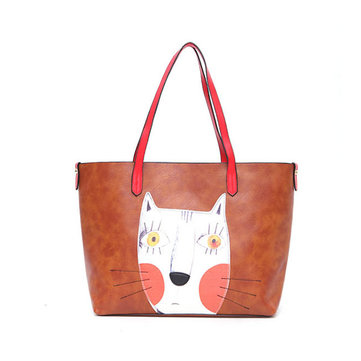 2PCS Cartoon Cat Handbags Print Casual Large Capacity Ladies Shoulder Bag