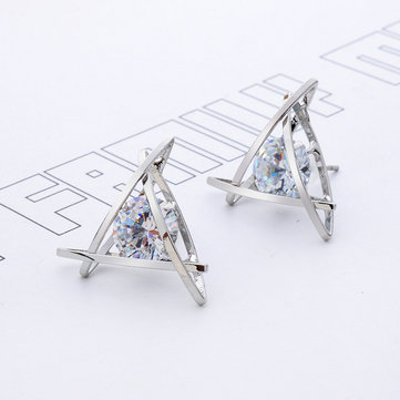 Hollow Triangle Zircon Crystal Earrings for Women Gift